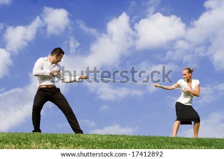 business woman versus business man