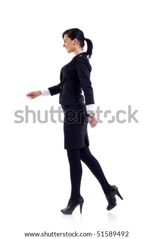 business woman walking isolated over a white background - stock photo