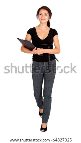 Business woman walking isolated over a white background