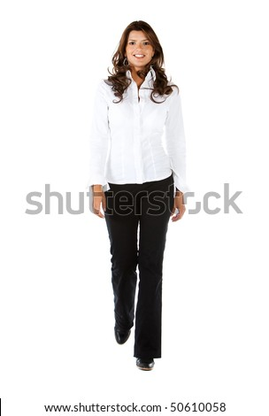 Business woman walking towards the camera - isolated over a white background