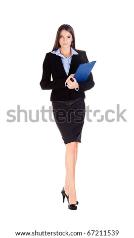 business woman walks on heels with documents on white background