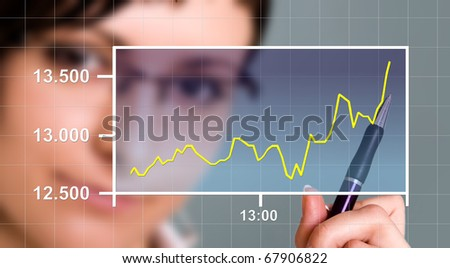 Business woman watching the upward trend of a graphic chart.