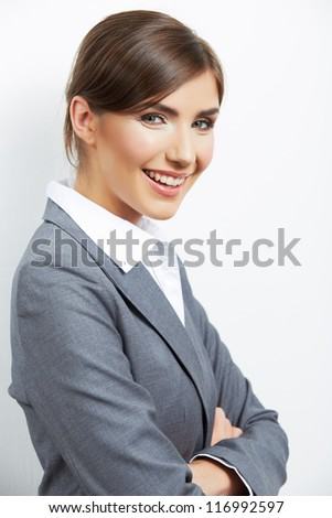 Business woman white isolated portrait,  crossed arms. Young happy female smiling model.