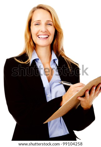 Business woman with a clipboard taking notes on a survey. smile and happy women