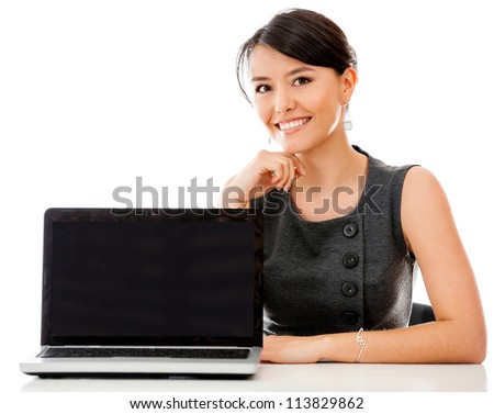 Business woman with a laptop facing the camera - isolated over white