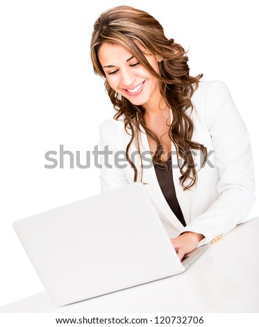Business woman with a laptop - isolated over a white background