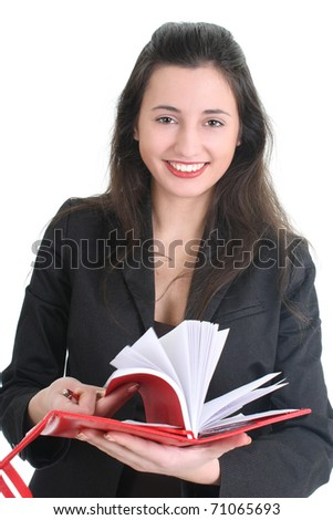 Business woman with a notepad over white