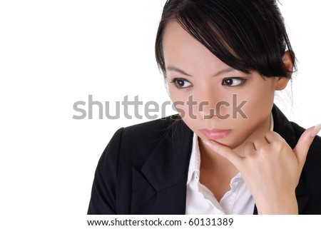 Business woman with alone expression and telephone gesture, closeup portrait on white background.