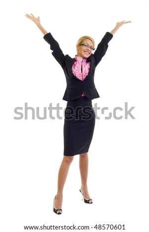 Business woman with arms raised over white
