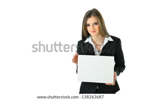 Business Woman with Blank Card with Copy Space (half view)