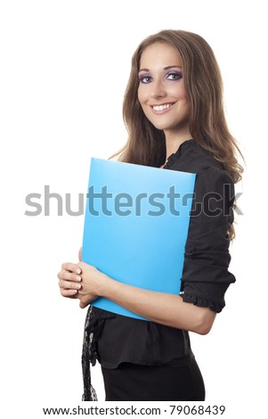 Business woman with blue folder