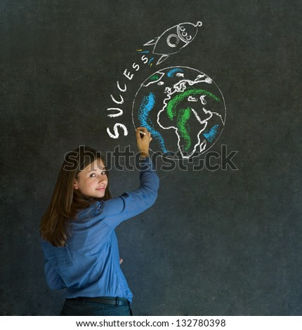 Business woman with chalk success rocket on blackboard background