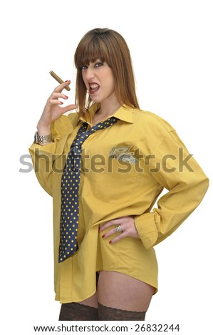 Business woman with cigar isolated in white