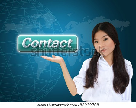 Business woman with contact button