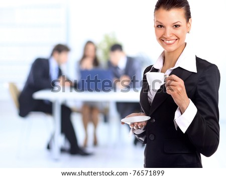 business woman with cup of coffee