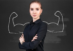 Business woman with drawn powerful hands.