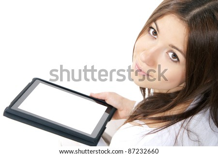 Business woman with electronic tablet touch pad computer one finger touch digital copy space blank white screen  on a white background