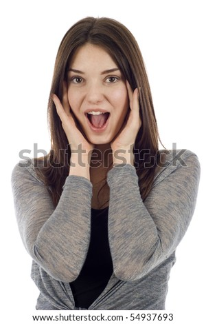 Business woman with expression and covering her ears, I hear no evil isolated over white