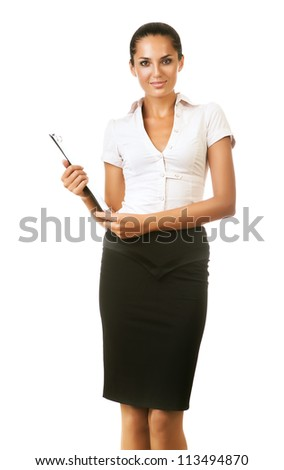 business woman with folder in hand on white background