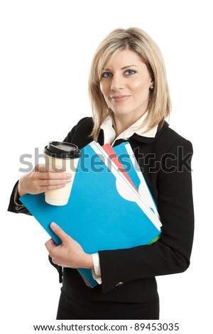 Business woman with folders and coffee cup isolated on white
