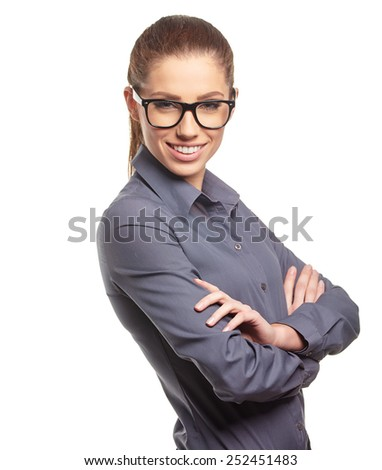 business woman with  glasses  #252451483