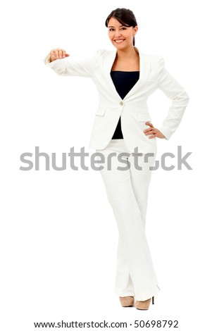 Business woman with hand on something imaginary - isolated over a white background