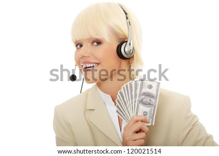 Business woman with headset holding dollars