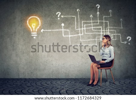 Business woman with laptop brainstorming on new project working near a wall with arrow maze and a bright idea light bulb sketch on it. #1172684329