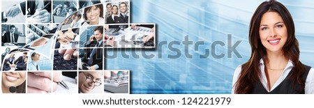 Business woman with laptop, computer over blue background.