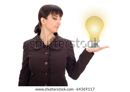 business woman with lightbulb in hand
