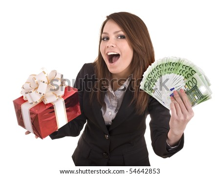 Business woman with money and gift box.  Isolated.