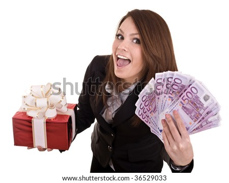 Business woman with money and red gift box. Isolated.