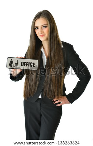 "Business Woman with 'Office"" Sign (3/4 view)"