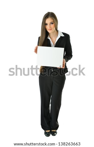 Business Woman with Small Blank Card with Copy Space (full view)