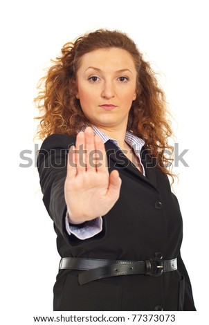 Business woman with stop hand gesture isolated on white background