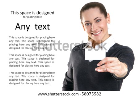 Business woman with the visit card. WARNING! Very low depth of field, focus only on the hand! Face is not in focus! - stock photo