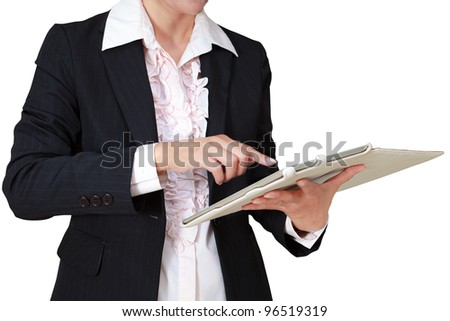 Business woman with touch pad computer, Isolated on white