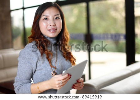 business woman work with pad