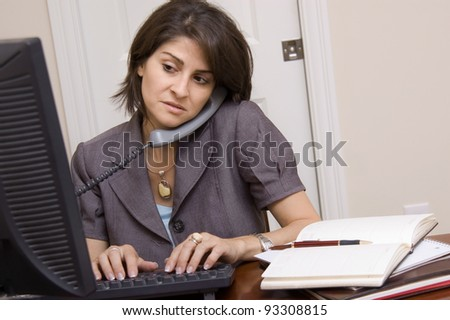 Business woman working in home office