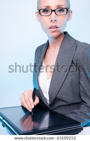 business woman  working on a computer graphic tablet