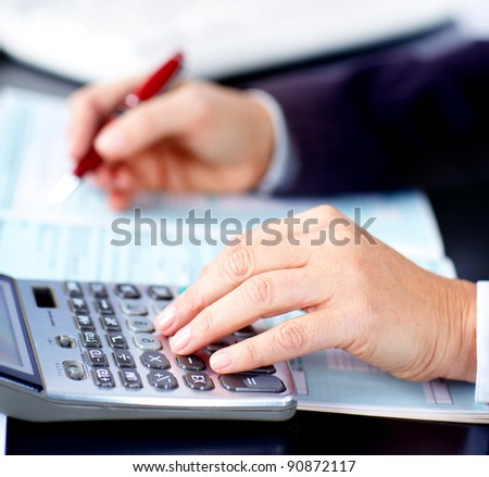 Business woman working with documents in the office