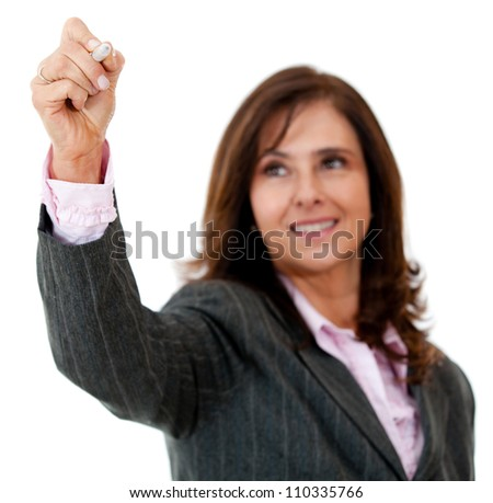 Business woman writing on an imaginary screen - isolated