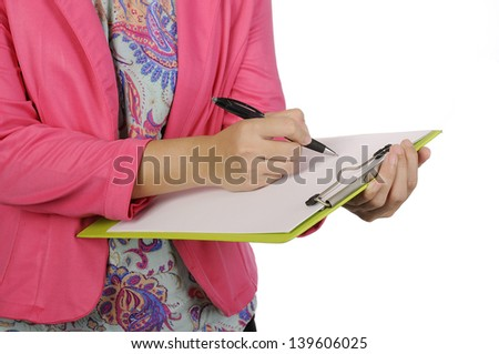 Business woman writing on clipboard isolated over white background