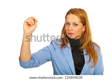 Business woman writing on copy space isolated on white background