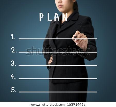 Business Woman Writing Plan List