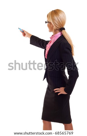 Business woman writing something with a blue marker, isolated