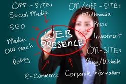 business woman writing web presence