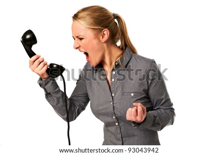 business woman yelling at phone #93043942