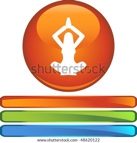 Business Woman Yoga web button isolated on a background.