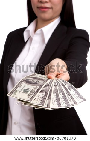 Business women hold  American dollar  against white background